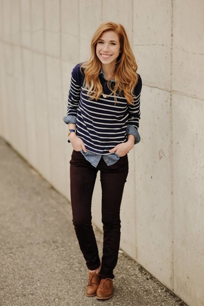 Striped sweater and chambray