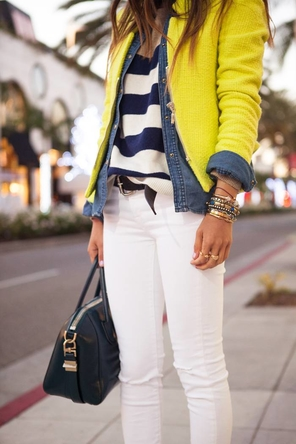 Yellow, chambray, and stripes