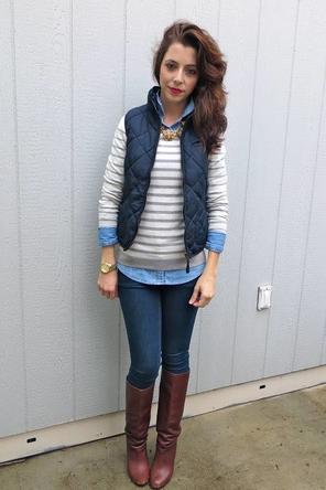 Inspiration: Striped sweater + chambray + vest