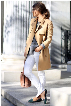 camel coat/grey top/white jeans/flats