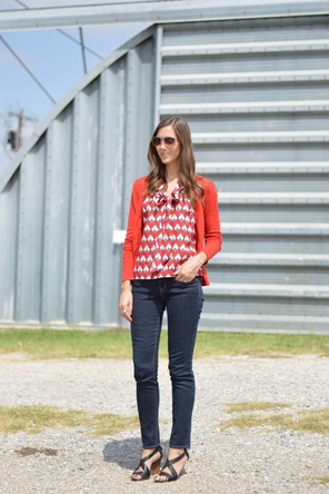 Geometric Bow Top + Red Cardigan + Skinnies + Strappy Wedges