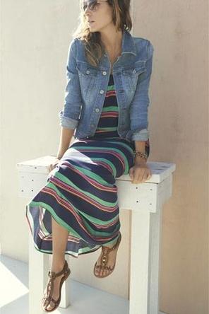 colorful maxi + denim jacket