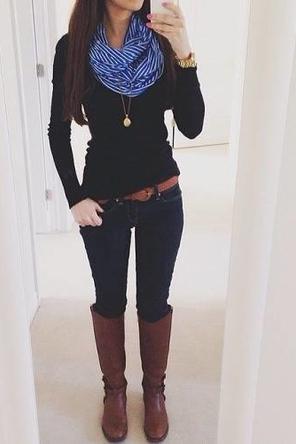cobalt scarf / black sweater / brown belt + boots / dark skinnies