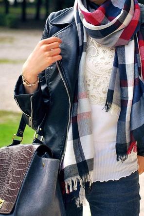lace top / plaid scarf / leather / denim