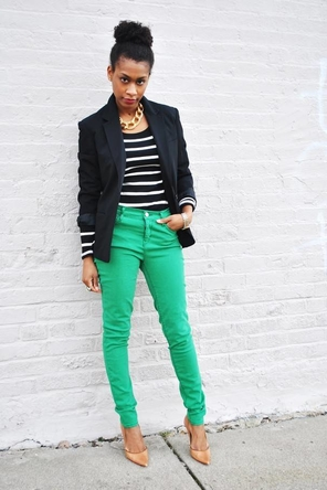 Blck/Wht Stripes + Green + Beige