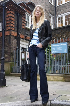 stripes / black leather / flared denim