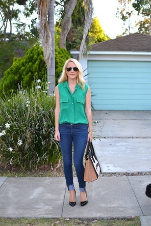 Emerald + Black Pumps