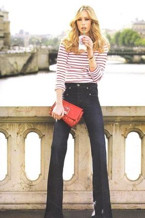 red stripes / red bag / flared denim