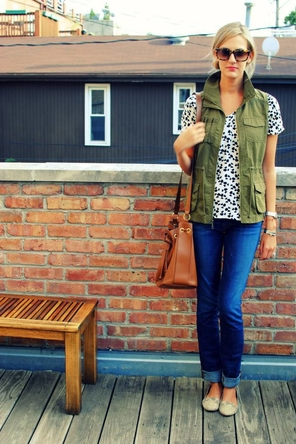 Vest + Printed Blouse + Denim