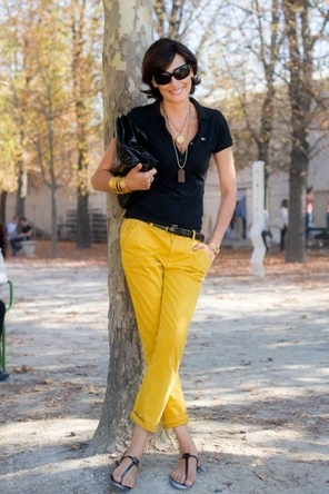 black polo + yellow cropped pants
