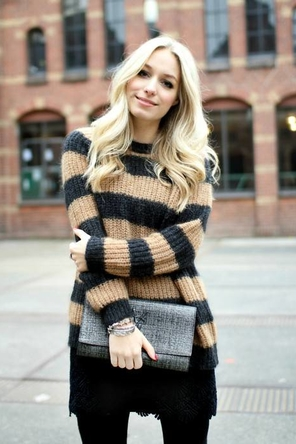 Striped Sweater + Tights