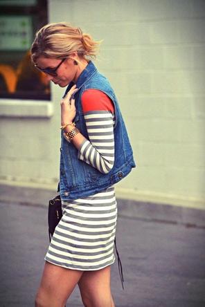 denim vest over stripes