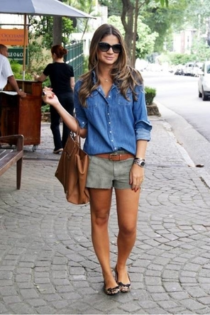 denim or chambray / olive shorts / brown / leopard