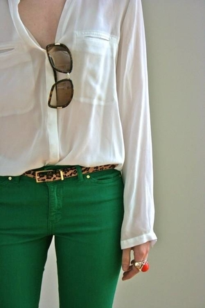 White Blouse and Green Denim + Leopard