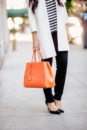 nautical stripes / white coat / dark denim / cognac or orange