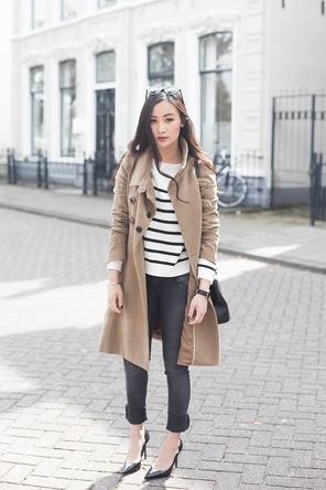 stripes / camel coat / dark grey skinnies / heels