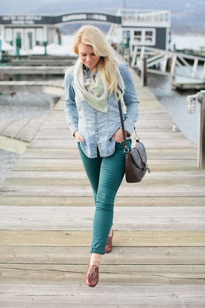 Denim/Chambray + Green + Oxfords