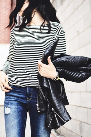 distressed denim / black + white stripes / black leather