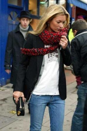 layered cardigan + graphic T / blazer or black leather jacket / leopard scarf / denim
