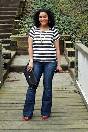 stripes / flared denim / red heels
