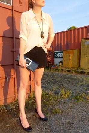 Shorts + Blouse + Large Pendant