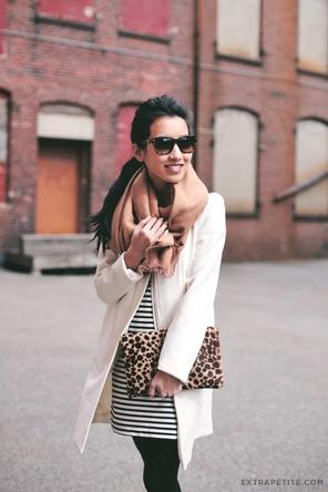 black + white stripes / winter white coat / camel