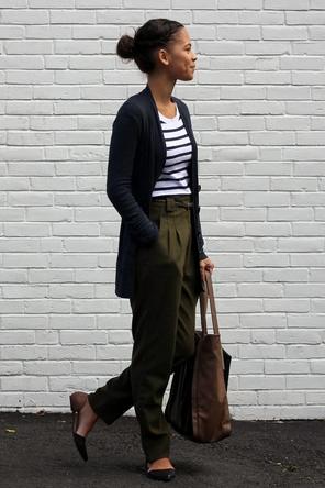 olive bottoms / stripes / navy / brown