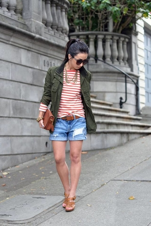 red stripes / utility jacket / cognac / denim