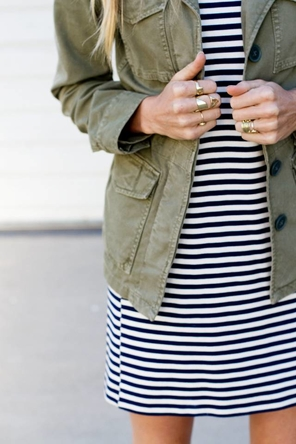 striped dress / utility jacket / rings