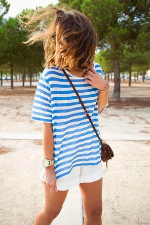 blue nautical stripes / white shorts / brown or tan