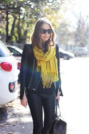 black + black leather / mustard scarf