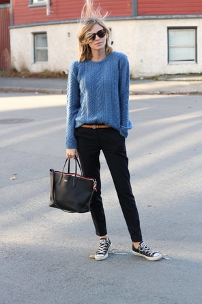 blue sweater / cognac belt / black denim or pants + Converse