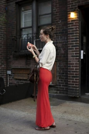 Red Maxi + White Blouse + Hoops