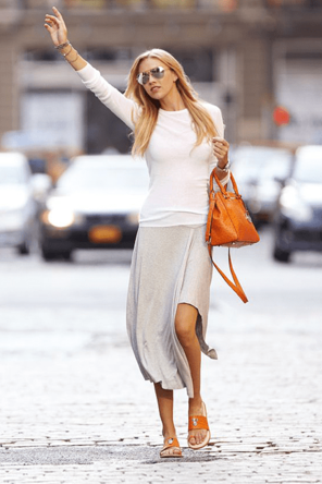 grey maxi / white T / cognac shoes and accessories