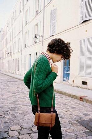 green sweater / layered stripes