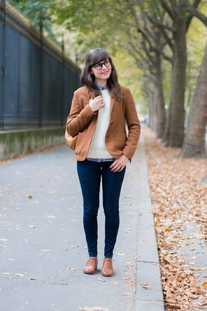 camel blazer / cream sweater / gingham / jeans / oxfords