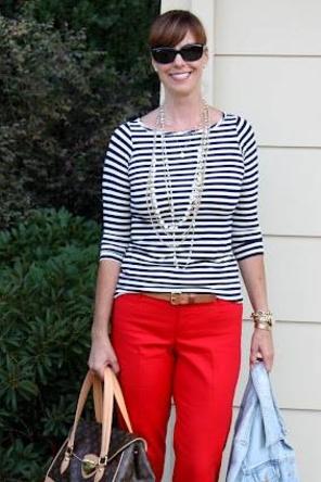 Stripes + Red Pants