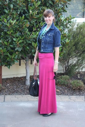 Pink Maxi + Denim Jacket