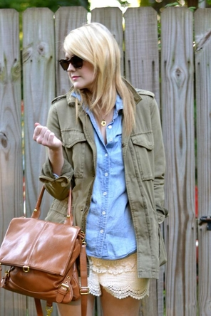 lace / chambray or denim / utility jacket / cognac