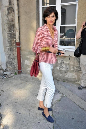 red gingham + bag / white denim or pants / blue loafers