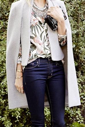 floral button-down / statement necklace / dark denim