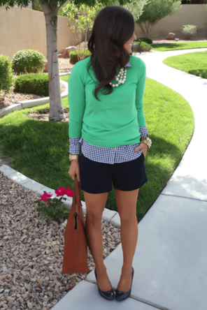 layered gingham / blue + green / cognac