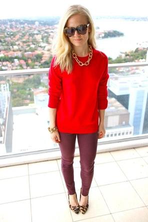 red sweater / burgundy denim / leopard heels or flats / statement necklace