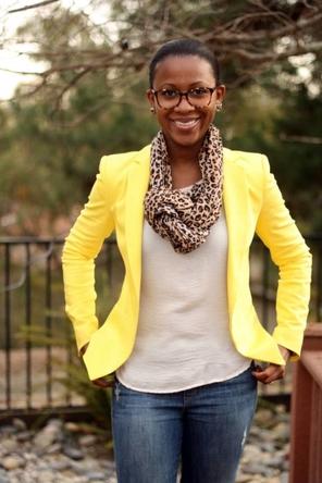 bright blazer / white T / leopard scarf / distressed denim
