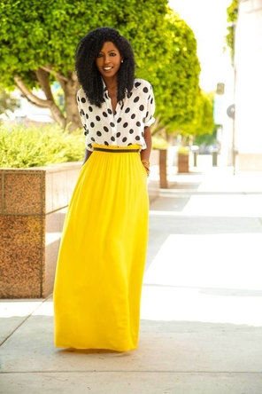 belted yellow maxi + polka dot blouse