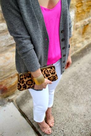 white denim / fuchsia top / grey cardigan / leopard clutch / gold