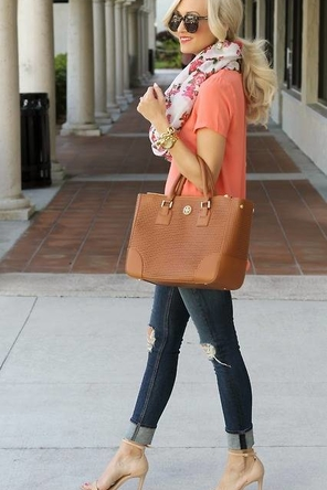 peach / floral scarf / distressed denim / neutral accessories