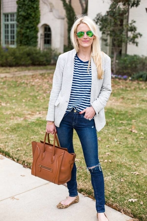navy stripes / blazer / distressed denim / leopard flats