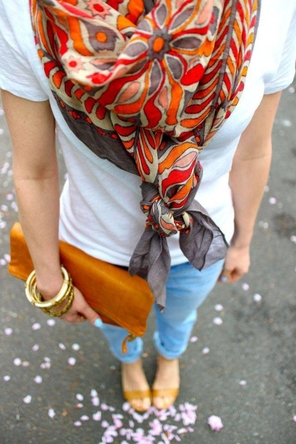light denim / white T / bright patterned scarf / cognac sandals + clutch