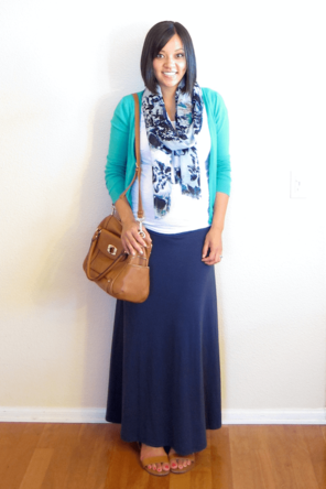 navy maxi / teal cardigan / white T / patterned scarf / cognac or tan bag